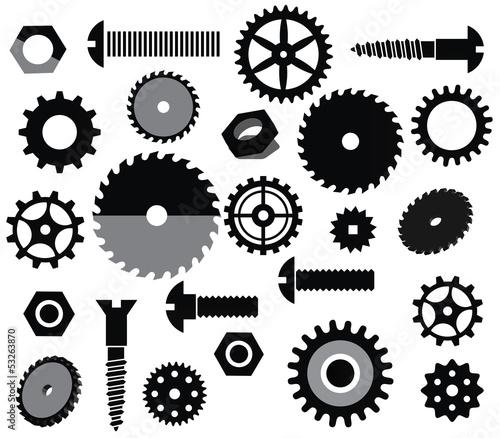Vector materials (circular saw, tooth wheels, screws)