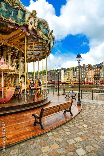 Carousel in Honfleur village landmark. Normandy, France Fototapete