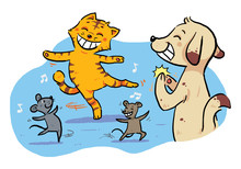 Dancing Pet Animals. Dancing Celebration By Cat, Mouse, And Dog.