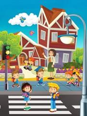 Obraz na płótnie Canvas Going to school - illustration for the children