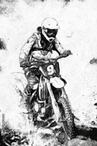 motocross-czarno-biala-farba-olejna