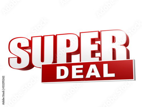 Fotografía  super deal red white banner - letters and block