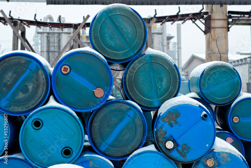 Fotografia, Obraz  Chemical waste dump with a lot of barrels
