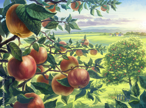 Tuinposter Zwavel geel Summer landscape with apples