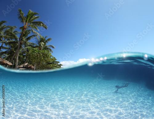 Foto auf Leinwand Tropical strand Blue tropical clear sea