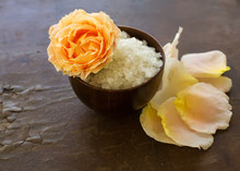 Sea Salt In Bowl With Rose On ...