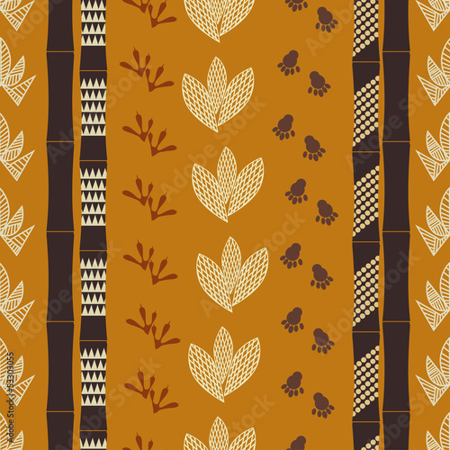Seamless pattern with Tribal drawing Canvas Print