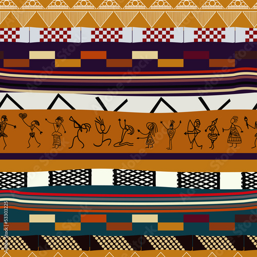 Obraz na plátně Seamless texture with figures of primitive people. Tribal style