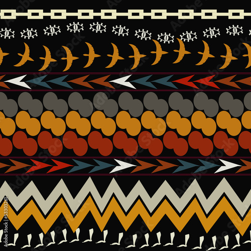 Carta da parati Seamless ethnic pattern. Tribal style