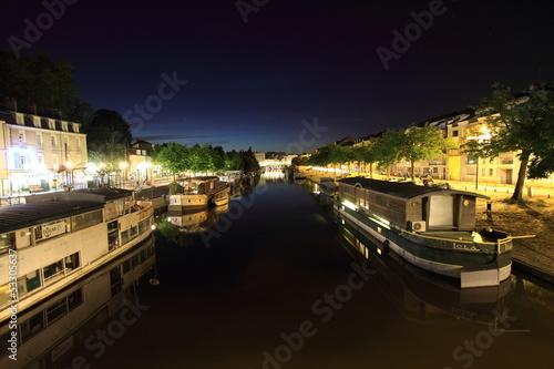 Papiers peints Ville sur l eau Quai de l'Erdre de nuit - Nantes