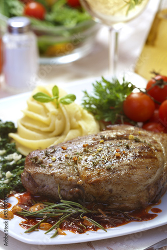 Photo Stands Ready meals Delicious beef steak with spaniard and potatoes