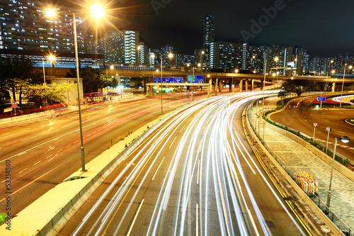 Foto op Aluminium Nacht snelweg Highway with car light