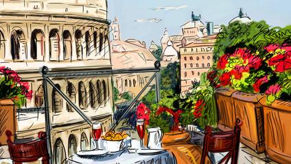 Panel Szklany Podświetlane Uliczki Street in Tuscany - illustration