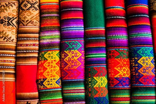 Foto op Aluminium Stof Colorful Fabric at market in Peru, South America