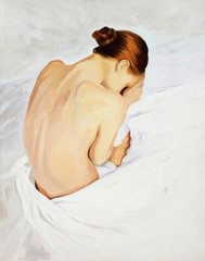 Obraz na Szklesad crying girl , painting by oil on canvas, illustration