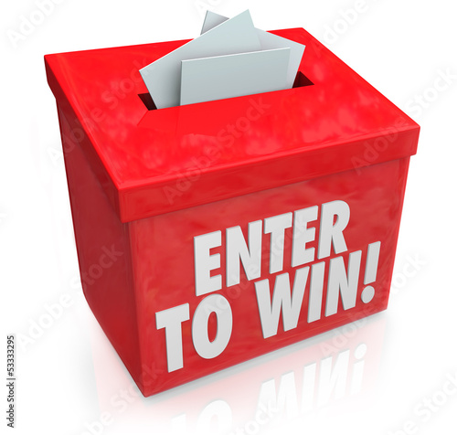 Fotografía  Enter to Win Red Raffle Lottery Box Entry Forms Tickets
