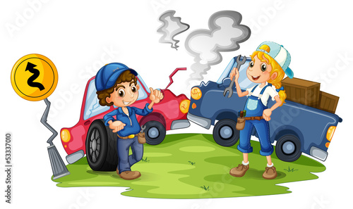 Recess Fitting Cars A male and a female mechanic fixing the damaged cars