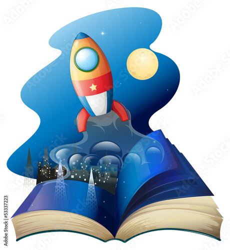 Fotomural A book with a rocket