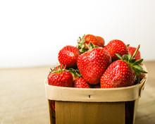 Freshly Picked Strawberries In A Basket