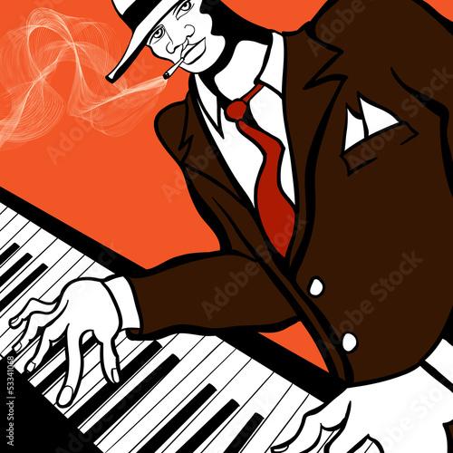 Staande foto Muziekband Jazz piano player