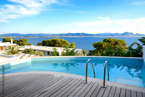 Fotografie, Obraz  Sea view swimming pool in the luxury hotel, Peloponnes, Greece