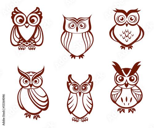 Photo Stands Owls cartoon Set of cartoon owls