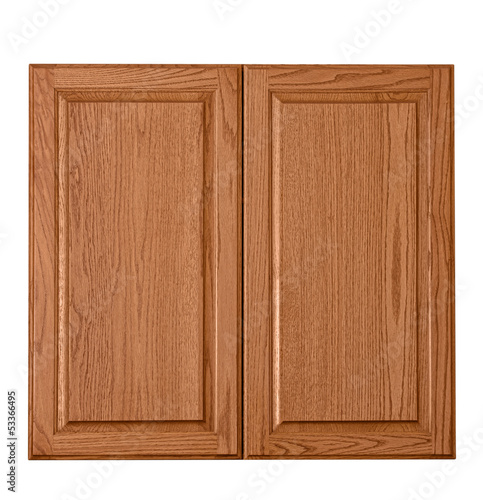 Obraz na plátně Wooden cabinet doors isolated over white
