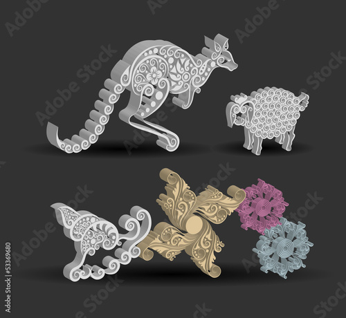 Kangaroo, Sheep, Snail, and Flower Floral Decorations