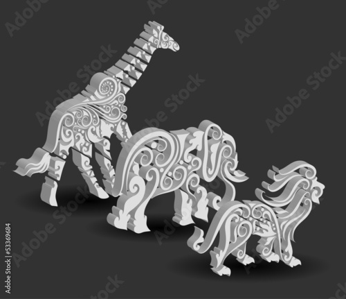 Giraffe, Elephant, and Lion Floral Ornament Decorations.