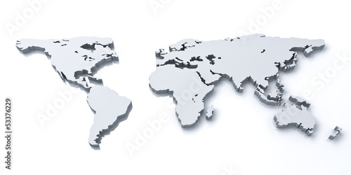 Poster Carte du monde 3d world map over white background with reflection