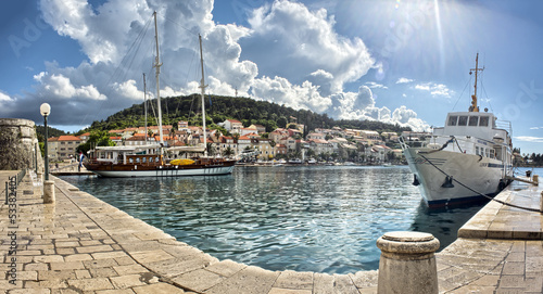 Valokuva  Town Korcula at Croatia - harbor