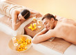 canvas print picture - couple in spa