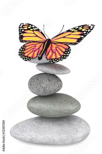 Deurstickers Stenen in het Zand Balanced stones with butterfly