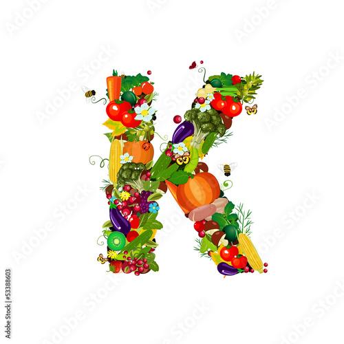 Fototapeta Fresh vegetables and fruits letter K obraz na płótnie