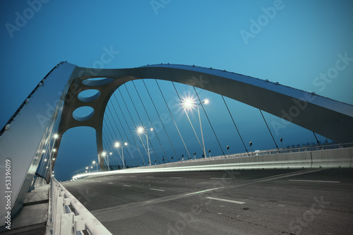 Spoed Foto op Canvas Brug Steel structure bridge night scene