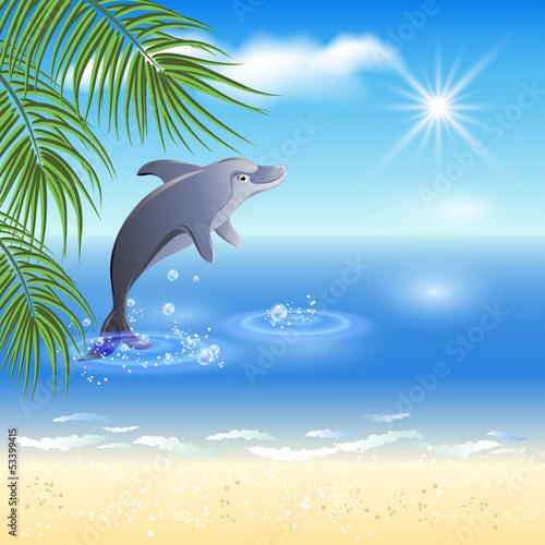 Staande foto Dolfijnen Dolphins leaps from water