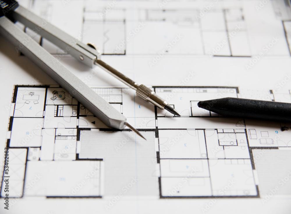 Photo Art Print Plan Darchitecte Dessin De Construction