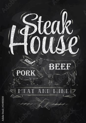 rysowanie-kreda-plakat-steak-house