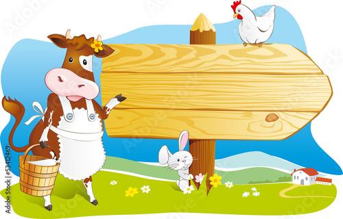 Farm animals wooden signboard copy space