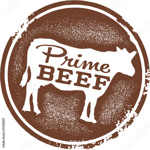 Fotografie, Obraz  Prime Beef Butcher Shop Stamp