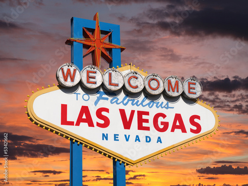 Wall Murals Las Vegas Welcome to Las Vegas Sign with Sunset Sky
