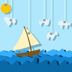 Fototapeta Do pokoju chłopca sailinig boat