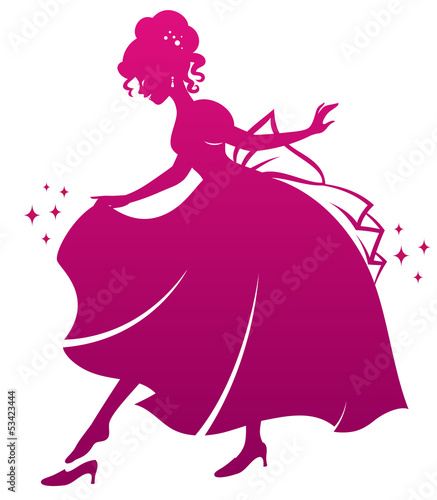 Tablou Canvas silhouette of Cinderella wearing her glass slipper