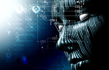 Fondo Tecnologico Con Cara . Codigo Binario,concepto De Internet