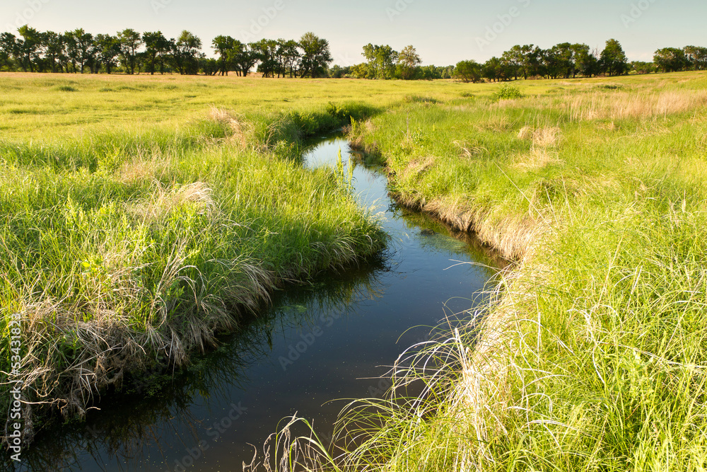 Fototapeta creek winding through Kansas pasture field