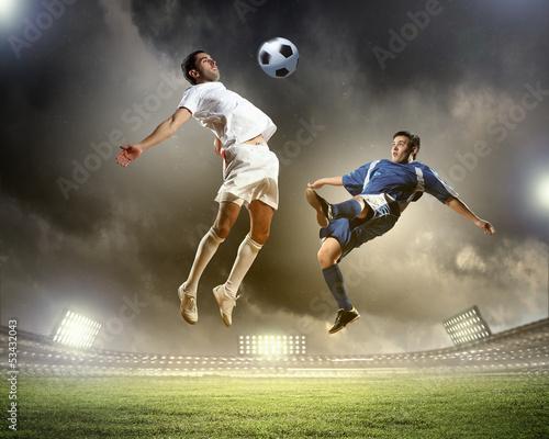 Fotobehang Voetbal Two football player