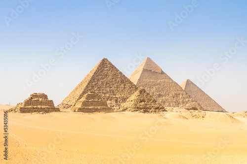 Poster Egypte Great pyramids in Giza valley, Cairo, Egypt