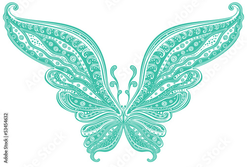 Turquoise butterfly with tracery pattern on the wings.