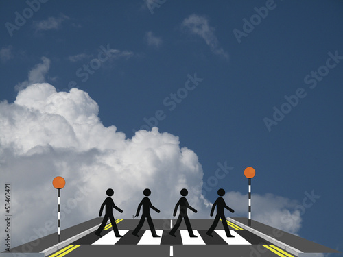 Photo  Four men on a zebra crossing