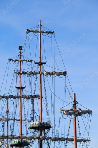 Valokuva  Ship tackles, Rigging on a old frigate